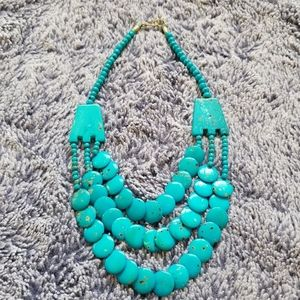 Turquoise Necklace Triple Strand Round Pellet